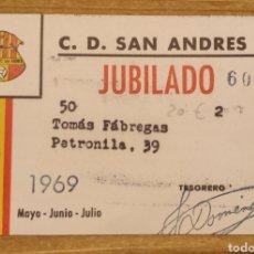 Coleccionismo deportivo: CARNET DE SOCIO C.D. SAN ANDRÉS 1969. Lote 206281238