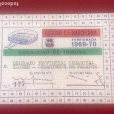 Coleccionismo deportivo: CARNET DEL CLUB DE FÚTBOL BARCELONA 1969-70 DELEGADO PROVINZIAL ORGANISMOS DE FALANGE.. Lote 206963617