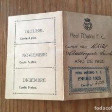 Coleccionismo deportivo: R9694 CARNET SOCIO ABONADO REAL MADRID AÑO 1925 CON CUPONES AUSTRESIGILIO SANCHEZ MUY RARO. Lote 209871810