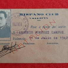 Coleccionismo deportivo: CARNE SOCIO HISPANO CLUB DE VALENCIA DE NATACION 1942 ORIGINAL. Lote 210756810