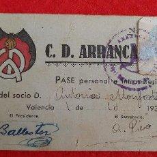 Coleccionismo deportivo: CARNE SOCIO CD ARRANCA DE VALENCIA 1939 ORIGINAL. Lote 210756901