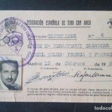 Coleccionismo deportivo: CARNET FEDERACION CASTELLANA ESPAÑOLA DE TIRO CON ARCO AÑO 1952. Lote 212490776