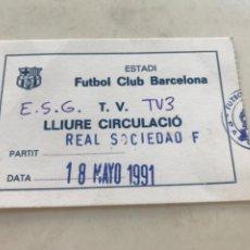 Coleccionismo deportivo: ACREDITACION DE PRENSA FUTBOL CLUB BARCELONA - REAL SOCIEDAD 1991 TV3.. Lote 212760152