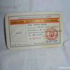 Coleccionismo deportivo: FEDERACION ESPAÑOLA DE MONTAÑISMO 1969 TARJETA DE IDENTIDAD GIJON. Lote 214137117