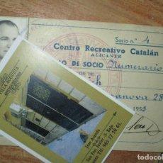 Coleccionismo deportivo: CARNET ANTIGUO CENTRO RECREATIVO CATALAN EN ALICANTE 1951 SOCIO NUMERARIO FARELL. Lote 214478783