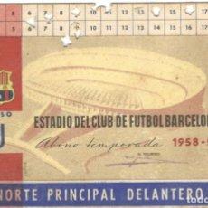 Coleccionismo deportivo: SOCIO PROTECTOR - ABONO TEMPORADA 1958-59 GOL NORTE PRINCIPAL - C.F.BARCELONA.. Lote 215591830