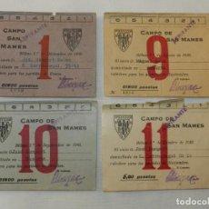 Coleccionismo deportivo: 4 CARNET O TARJETAS DE SOCIO DEL ATHLETIC BILBAO, AÑO 1940, CAMPO SAN MAMES. MIDEN 10,5 X 8 CMS.. Lote 215811481