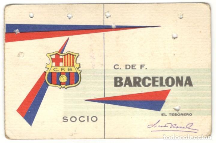 CARNET SOCIO - C. DE F. BARCELONA 1º TRIMESTRE 1962. (Coleccionismo Deportivo - Documentos de Deportes - Carnet de Socios)