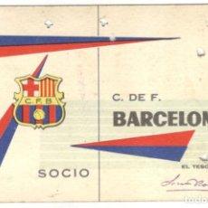 Coleccionismo deportivo: CARNET SOCIO - C. DE F. BARCELONA 1º TRIMESTRE 1962.. Lote 215849276