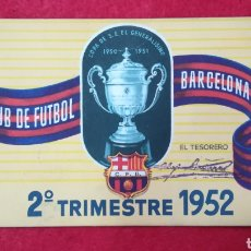 Coleccionismo deportivo: CARNET BARCELONA 2° TRIMESTRE 1952. CLUB DE FUTBOL BARCELONA. JOYA. Lote 217512655