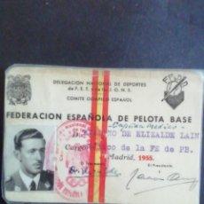 Coleccionismo deportivo: CARNÉ FEDERACIÓN ESPAÑOLA DE PELOTA BASE (BÉISBOL) 1955. Lote 218358793