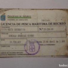 Coleccionismo deportivo: LICENCIA DE PESCA MARITIMA DE RECREO COSTA 1998 VILLAVICIOSA PRINCIPADO DE ASTURIAS AGRICULTURA. Lote 218447303