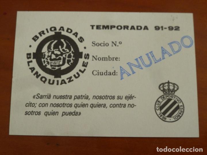Coleccionismo deportivo: carnet futbol ultras real club deportivo español brigadas blanquiazules - Foto 2 - 218499145