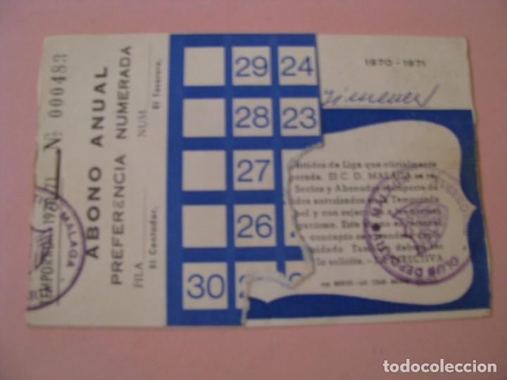 ABONO ANUAL C.D. MALAGA. TEMPORADA 1970-71. (Coleccionismo Deportivo - Documentos de Deportes - Carnet de Socios)