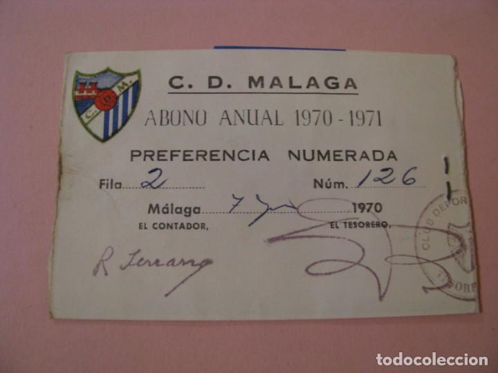 Coleccionismo deportivo: ABONO ANUAL C.D. MALAGA. TEMPORADA 1970-71. - Foto 2 - 218638030