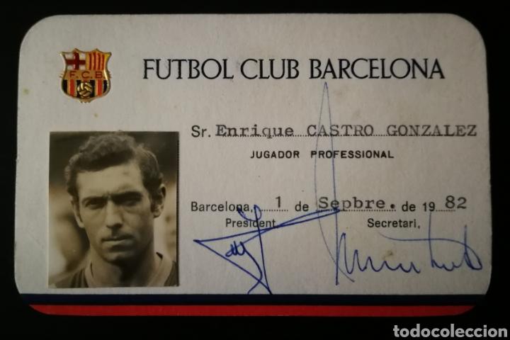 """CARNET / FICHA ENRIQUE CASTRO """" QUINI """" BARCELONA . FCB . JUGADOR REAL SPORTING GIJÓN (Coleccionismo Deportivo - Documentos de Deportes - Carnet de Socios)"""