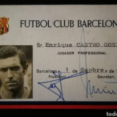 "Collectionnisme sportif: CARNET / FICHA ENRIQUE CASTRO "" QUINI "" BARCELONA . FCB . JUGADOR REAL SPORTING GIJÓN. Lote 219124322"