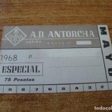 Coleccionismo deportivo: CARNET SOCIO A. D. ANTORCHA LERIDA MAYO 1968 ESPECIAL. Lote 219138711