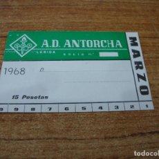 Coleccionismo deportivo: CARNET SOCIO A. D. ANTORCHA LERIDA MARZO 1968. Lote 219138735