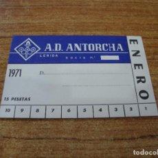 Coleccionismo deportivo: CARNET SOCIO A. D. ANTORCHA LERIDA ENERO 1971. Lote 219145202
