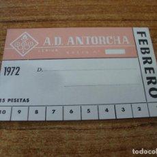 Coleccionismo deportivo: CARNET SOCIO A. D. ANTORCHA LERIDA FEBRERO 1972. Lote 219145280