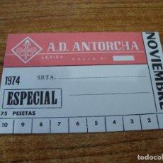Coleccionismo deportivo: CARNET SOCIO A. D. ANTORCHA LERIDA NOVIEMBRE 1974 ESPECIAL. Lote 219145540