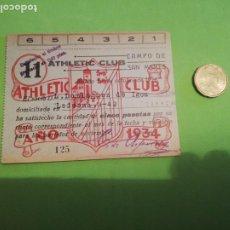 Colecionismo desportivo: RECIBO ABONO ATLÉTICO CLUB DE FÚTBOL 1934. Lote 219200245