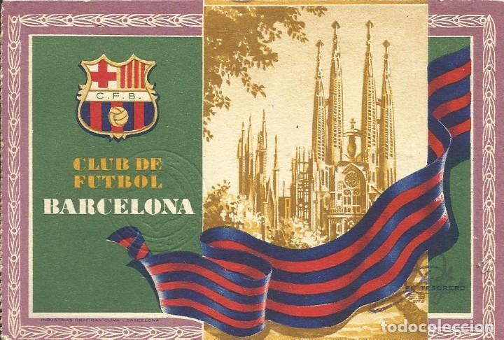 CARNET CLUB DE FÚTBOL BARCELONA. 3R TRIMESTRE 1955. SAGRADA FAMÍLIA. 12,7X8,7 CM. BUEN ESTADO. (Coleccionismo Deportivo - Documentos de Deportes - Carnet de Socios)