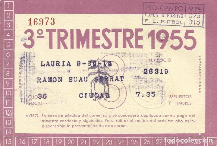 Coleccionismo deportivo: Carnet Club de Fútbol Barcelona. 3r trimestre 1955. Sagrada Família. 12,7x8,7 cm. Buen estado. - Foto 2 - 219259818