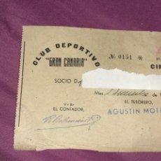 Coleccionismo deportivo: ANTIGUO RECIBO DE SOCIO DE CLUB DEPORTIVO GRAN CANARIA AÑO 1942.DEPORTE FÚTBOL. Lote 220064576