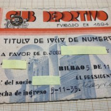 Coleccionismo deportivo: CARNET CLUB DEPORTIVO FUNDADO 1894 BILBAO. Lote 220984971