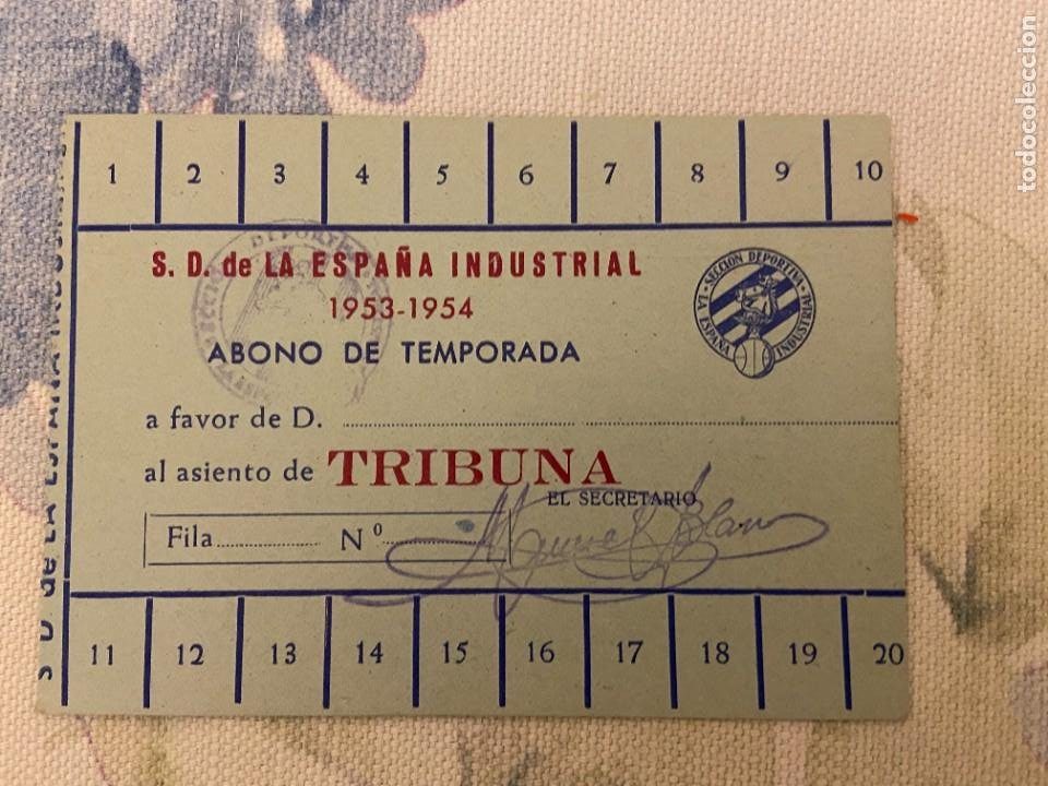 CARNET ABONO TEMPORADA S.D. ESPAÑA INDUSTRIAL 1953 1954 NUEVO (Coleccionismo Deportivo - Documentos de Deportes - Carnet de Socios)