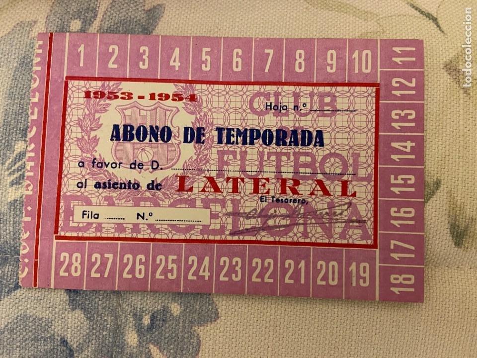 ABONO DE TEMPORADA BARCELONA 1953 1954 NUEVO (Coleccionismo Deportivo - Documentos de Deportes - Carnet de Socios)