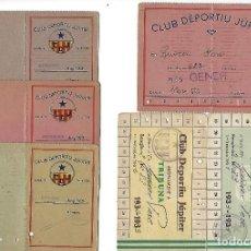 Coleccionismo deportivo: LOTE 4 CARNET CLUB DEPORTIU JUPITER Y 2 ABONAMENTS 1932-33-34.. Lote 221689242