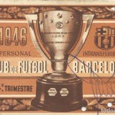 Coleccionismo deportivo: CARNET CLUB DE FÚTBOL BARCELONA. 4º TRIMESTRE 1946. 8,5X12,5 CM. BUEN ESTADO CON SIGNOS DE LA EDAD.. Lote 221713195