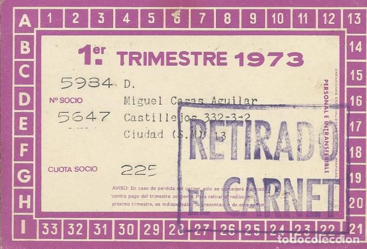 Coleccionismo deportivo: Carnet Club de Fútbol Barcelona. 1er trimestre 1973. 8x11,5 cm. Buen estado con signos de la edad. - Foto 2 - 221713443