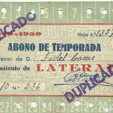 Coleccionismo deportivo: ABONO DE TEMPORADA CLUB DE FÚTBOL BARCELONA. 1949-1950. 7,5X11,5 CM. BUEN ESTADO.. Lote 221716380