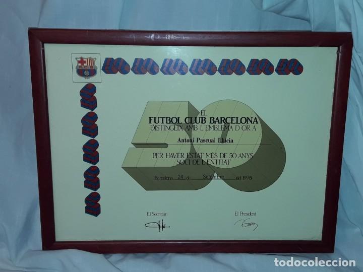 Coleccionismo deportivo: Cuadro titulo honorifico 50 años socio emblema D´oro del Barça F,C, Barcelona año 1996 - Foto 6 - 222043367