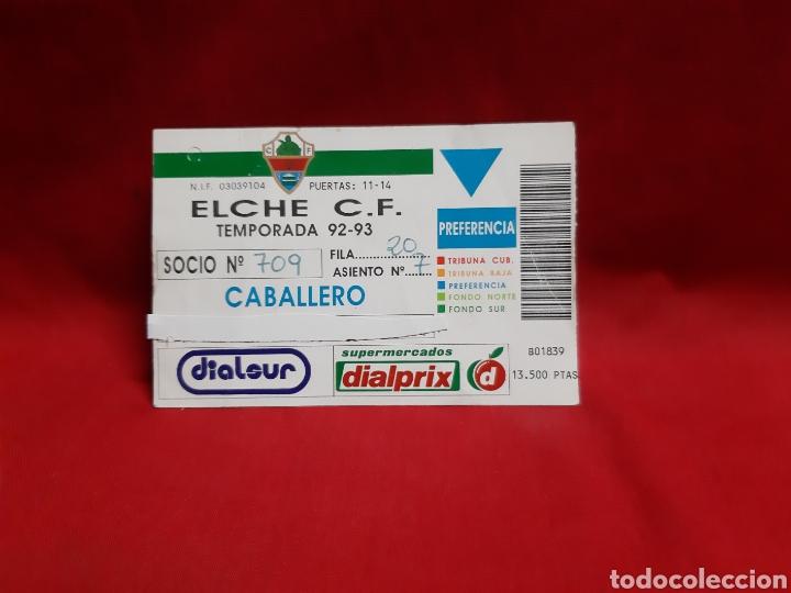 CARNET DE SOCIO DE PREFERENCIA ELCHE CF TEMPORADA 92-93 (Coleccionismo Deportivo - Documentos de Deportes - Carnet de Socios)