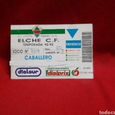 Coleccionismo deportivo: CARNET DE SOCIO DE PREFERENCIA ELCHE CF TEMPORADA 92-93. Lote 223851428
