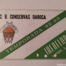Coleccionismo deportivo: CARNET DE SOCIO CONSERVAS DAROCA CLUB DE BALONCESTO FILIAL DEL CAI ZARAGOZA 92-93. Lote 224354471