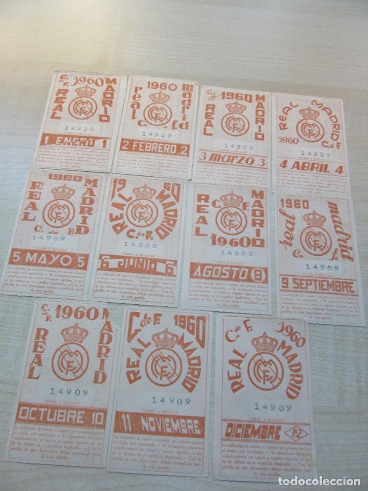 11 TIKETS DE ABONO MENSUALES DE SOCIO DEL REAL MADRID 1960 (FALTA JULIO) (Coleccionismo Deportivo - Documentos de Deportes - Carnet de Socios)