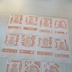 Coleccionismo deportivo: 11 TIKETS DE ABONO MENSUALES DE SOCIO DEL REAL MADRID 1960 (FALTA JULIO). Lote 226300195