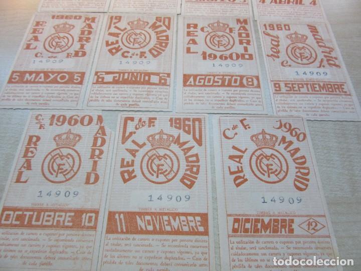 Coleccionismo deportivo: 11 Tikets de abono mensuales de socio del Real Madrid 1960 (falta Julio) - Foto 2 - 226300195
