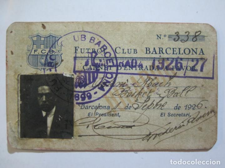 Coleccionismo deportivo: FUTBOL CLUB BARCELONA-CARNET ENTRADA DE JUGADOR DE BALONCESTO-ANO 1926 1927-VER FOTOS-(76.191) - Foto 2 - 228349060