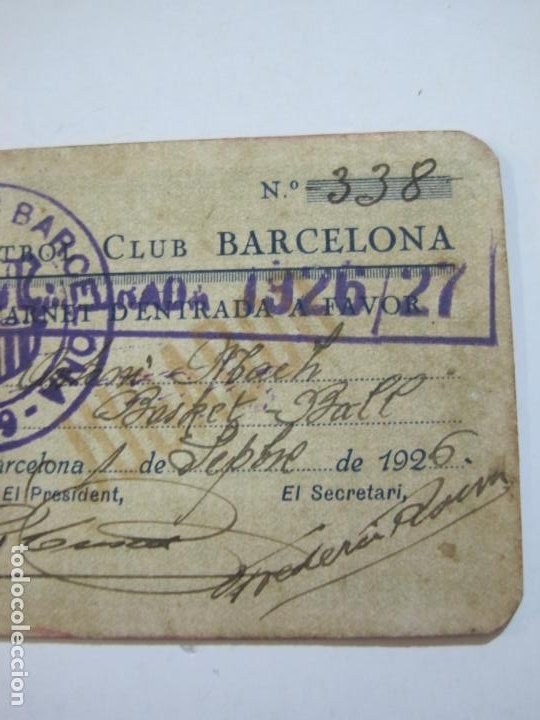 Coleccionismo deportivo: FUTBOL CLUB BARCELONA-CARNET ENTRADA DE JUGADOR DE BALONCESTO-ANO 1926 1927-VER FOTOS-(76.191) - Foto 4 - 228349060