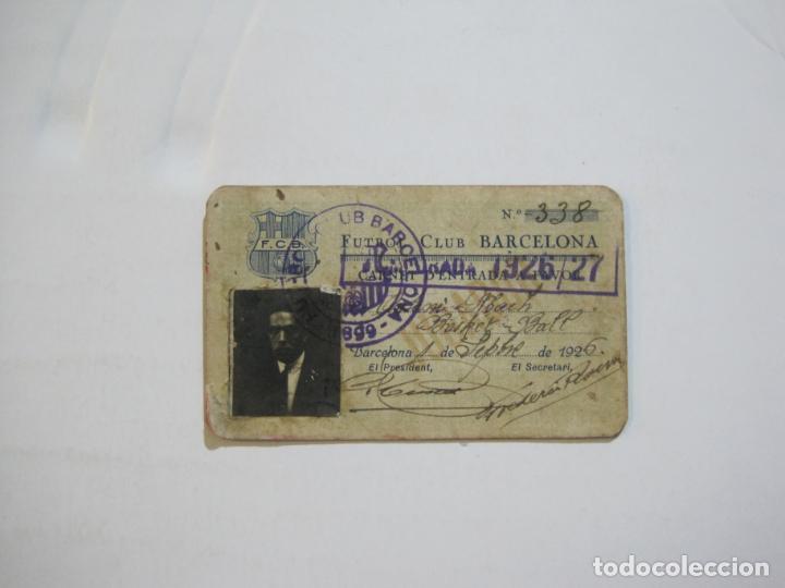 FUTBOL CLUB BARCELONA-CARNET ENTRADA DE JUGADOR DE BALONCESTO-ANO 1926 1927-VER FOTOS-(76.191) (Coleccionismo Deportivo - Documentos de Deportes - Carnet de Socios)