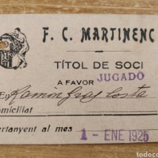 Coleccionismo deportivo: CARNET SOCIO Y JUGADOR DEL F.C. MARTINENC 1925 MUY ANTIGUO. Lote 229178085