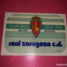 Coleccionismo deportivo: ABONO Ó CARNET REAL ZARAGOZA FÚTBOL TEMPORADA 1973/74 MARZO 74. Lote 232485495