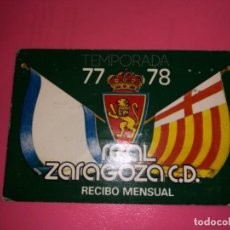 Coleccionismo deportivo: ABONO Ó CARNET REAL ZARAGOZA FÚTBOL TEMPORADA 1977/78 JULIO-AGOSTO 77. Lote 232485975